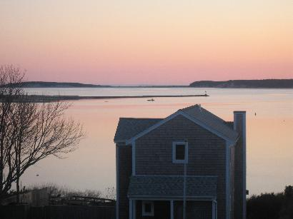 Picture taken from second floor deck of Wellfleet Harbor, Great Island and Cape Cod Bay
